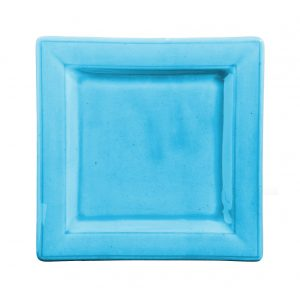 Assiette carree turquoise